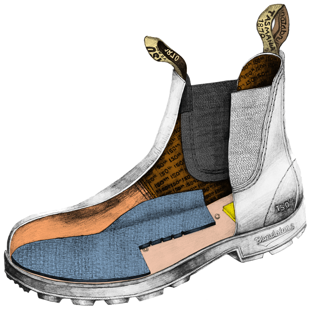 Drawing of a Blundstone Anniversary series boot