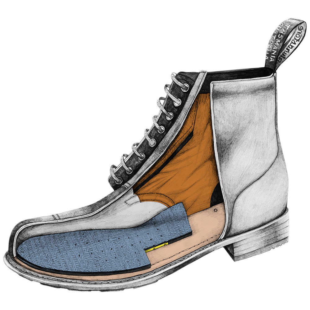 Drawing of a Blundstone Heritage series lace-up boot