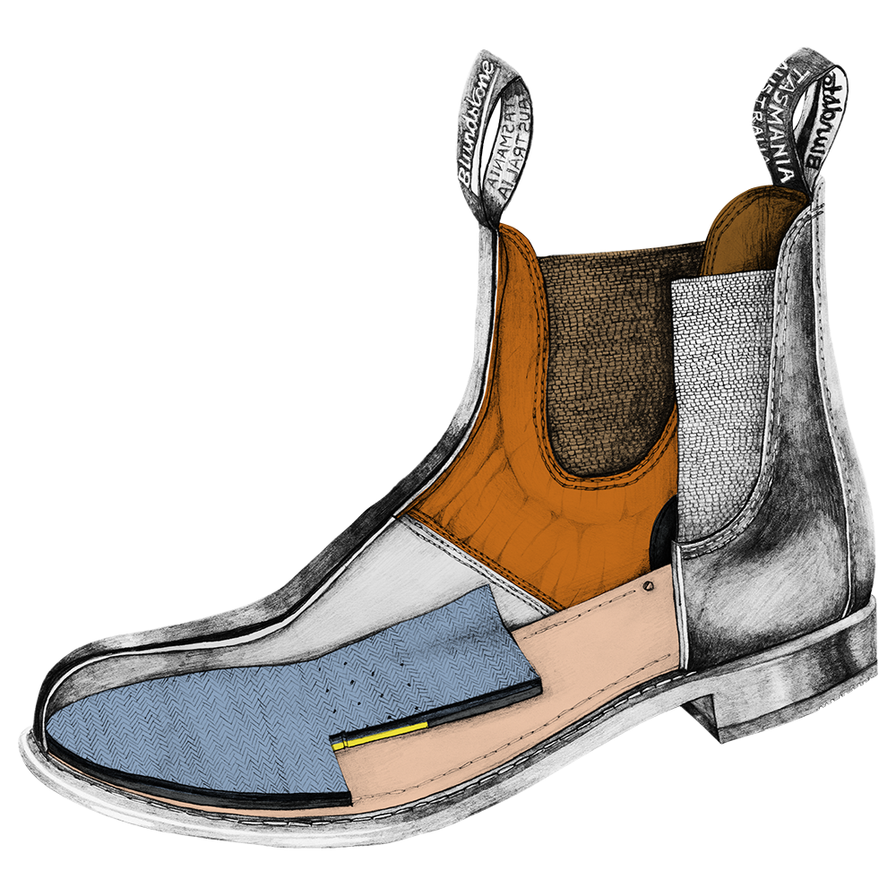 Drawing of a Blundstone Heritage series chelsea boot