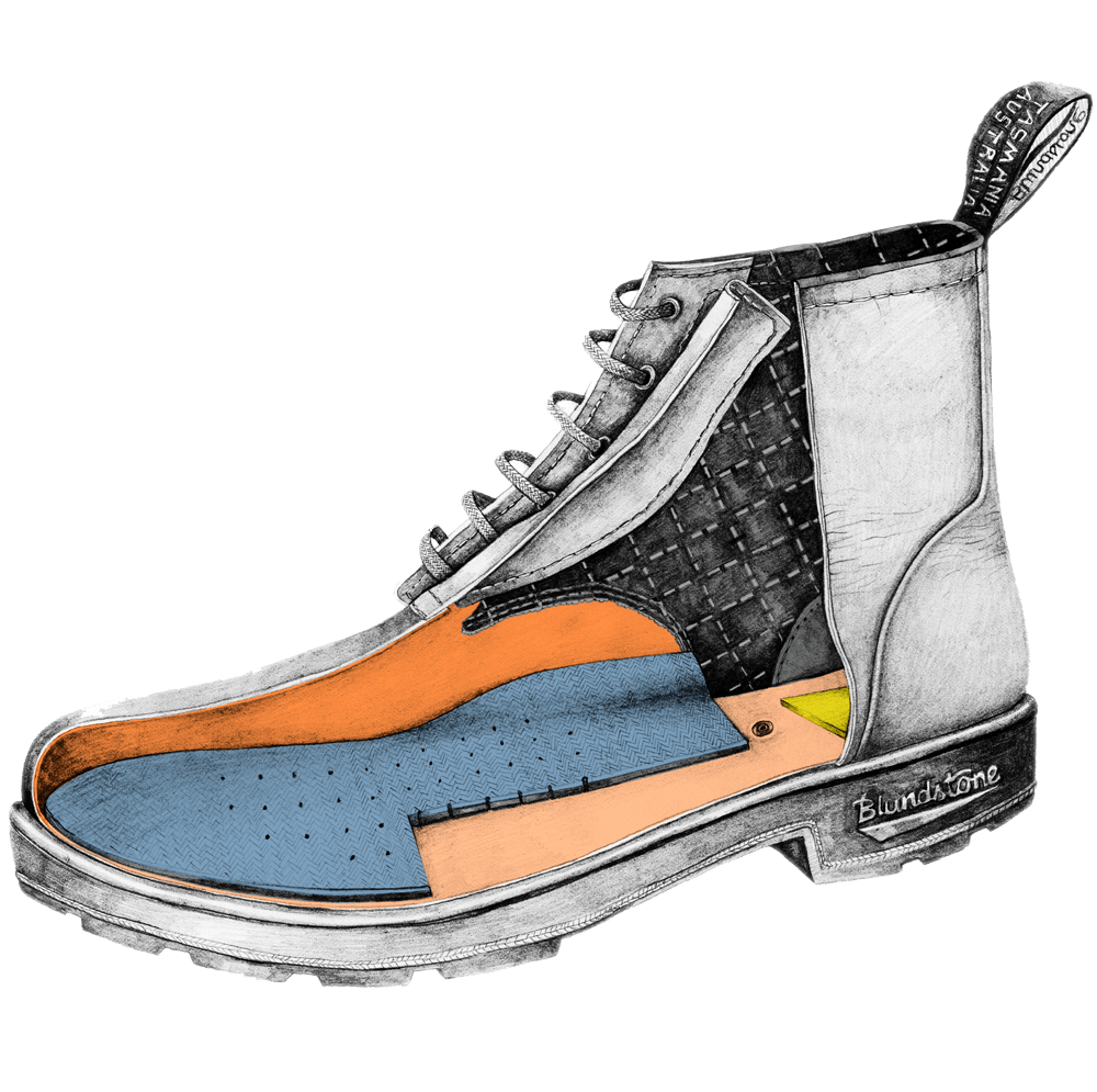 Drawing of a Blundstone Originals series lace-up boot