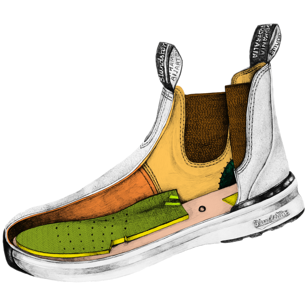 Drawing of a Blundstone Active series boot