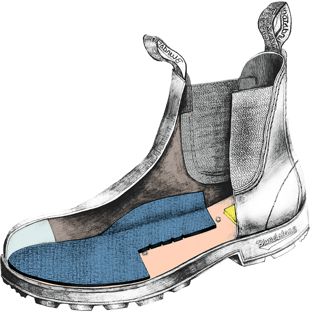 Drawing of a Blundstone Originals series boot