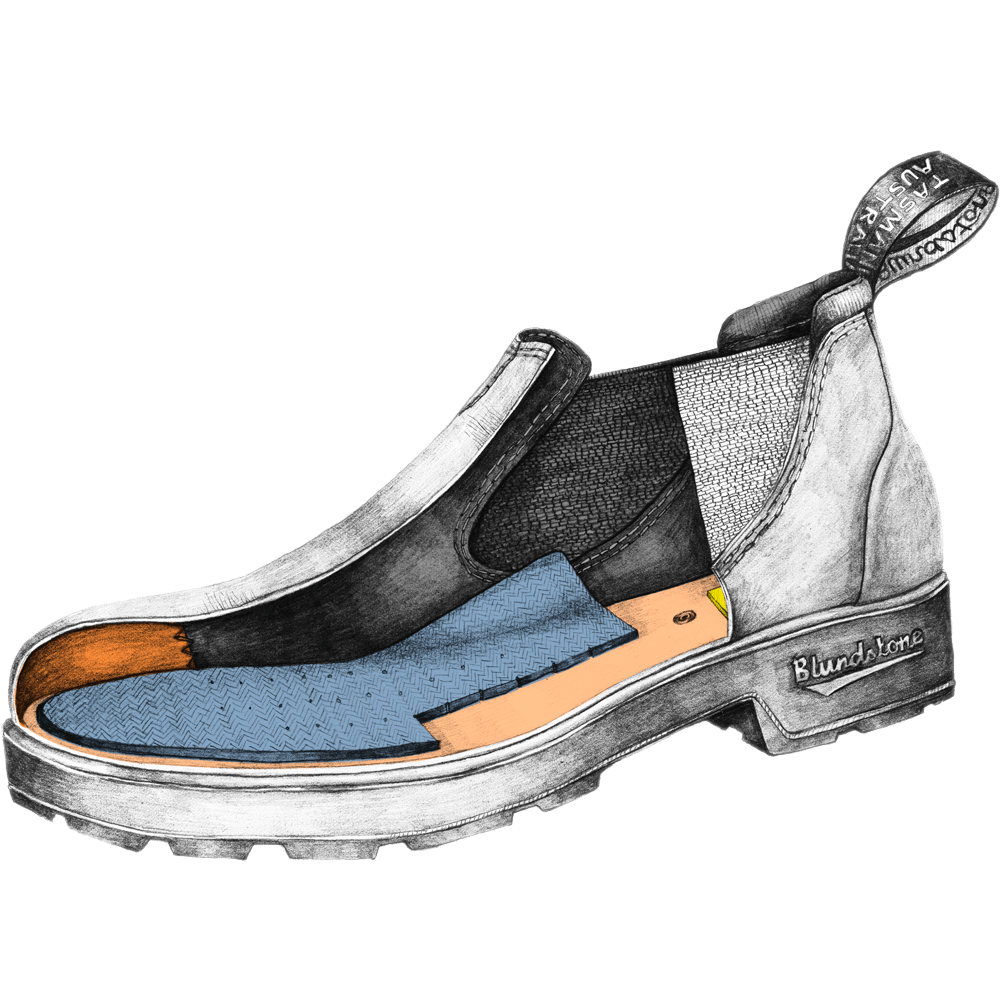 Drawing of a Blundstone Originals series low shoe