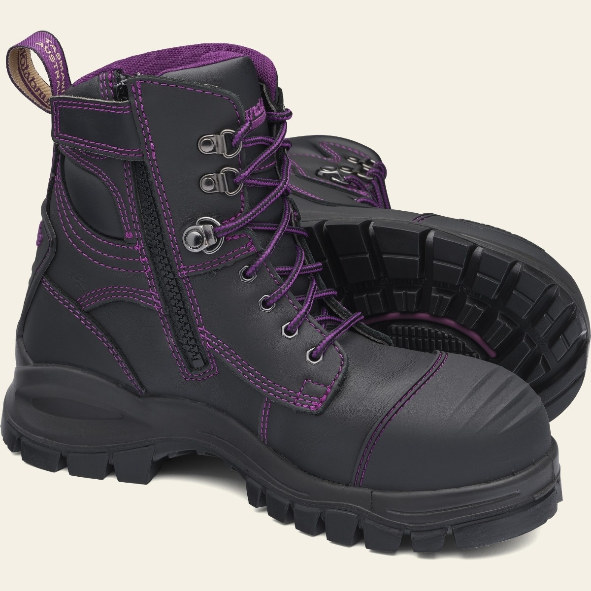 Black Premium Leather Work Boots, Women