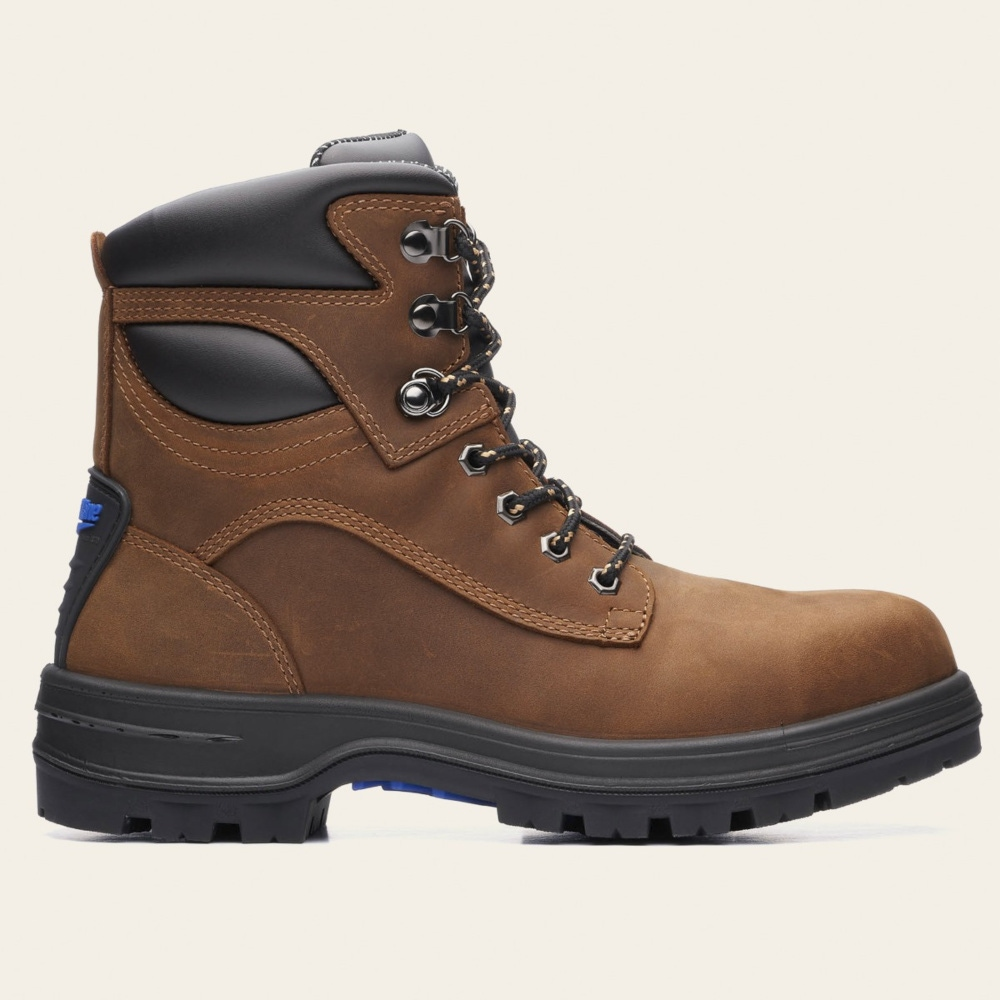 new MENS  brown crazy   LEATHER  WORK  SAFETY BOOTS STEEL TOE CAP  SIZE uk 9