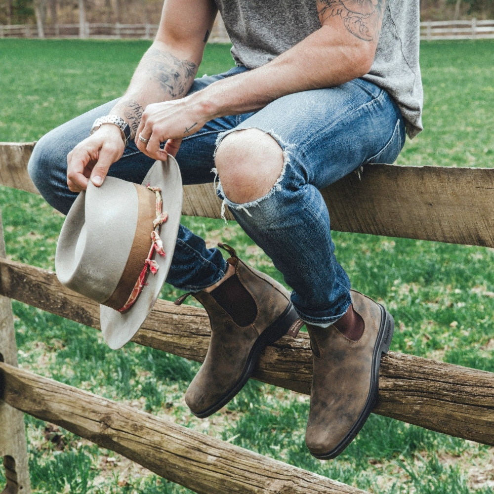 Rustic Brown Leather Chelsea Boots, Men