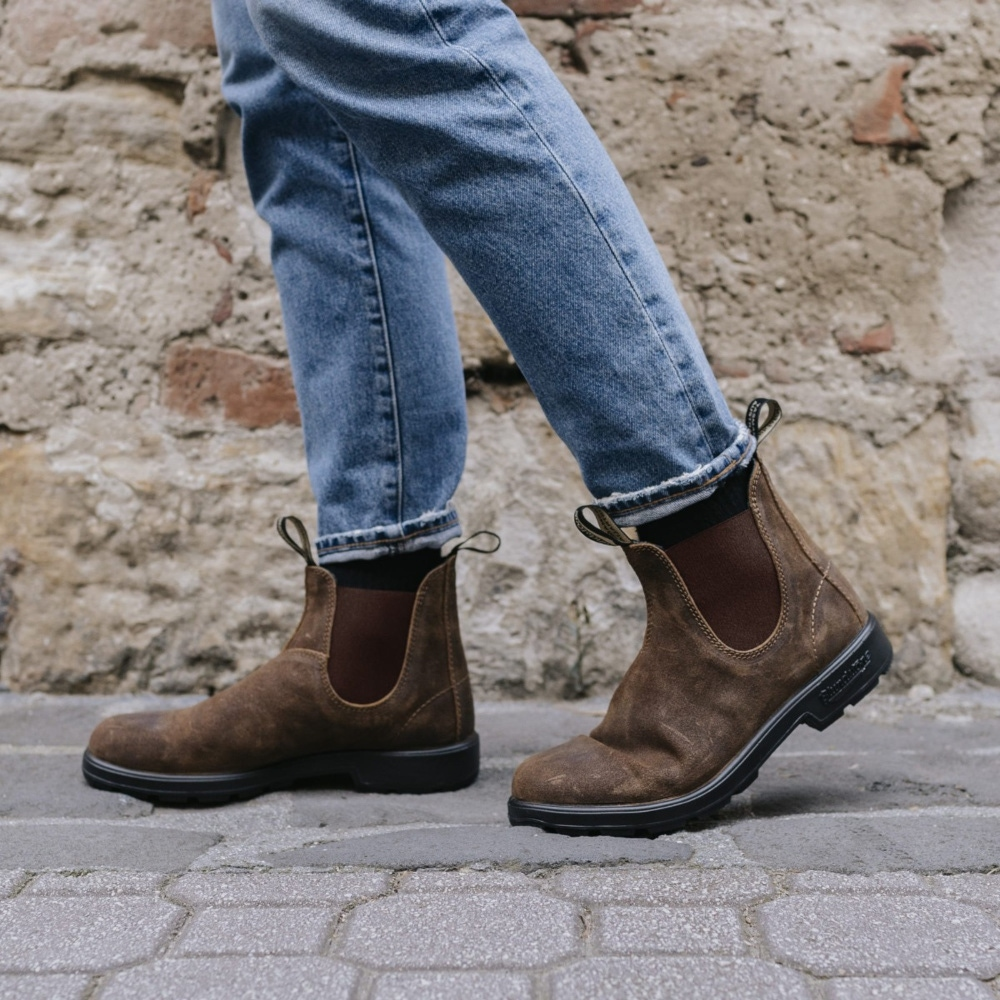 Tobacco Suede Leather Suede Boots, Men