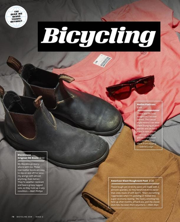 Bicycling Magazine Features Blundstone in Gear We Never Travel Without