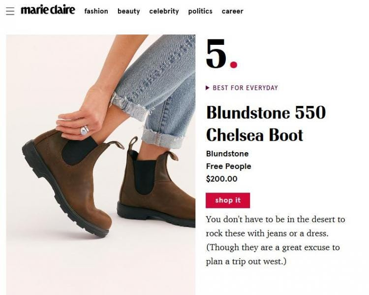 Best Chelsea Boots for Women, Marie Claire List Features our 550's
